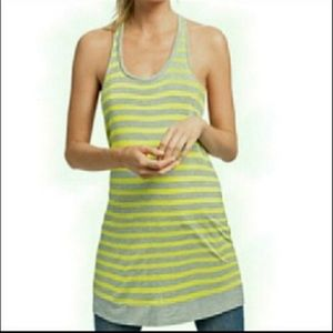 CAbi Lime Stripe Sideline Tank Womens Size Small